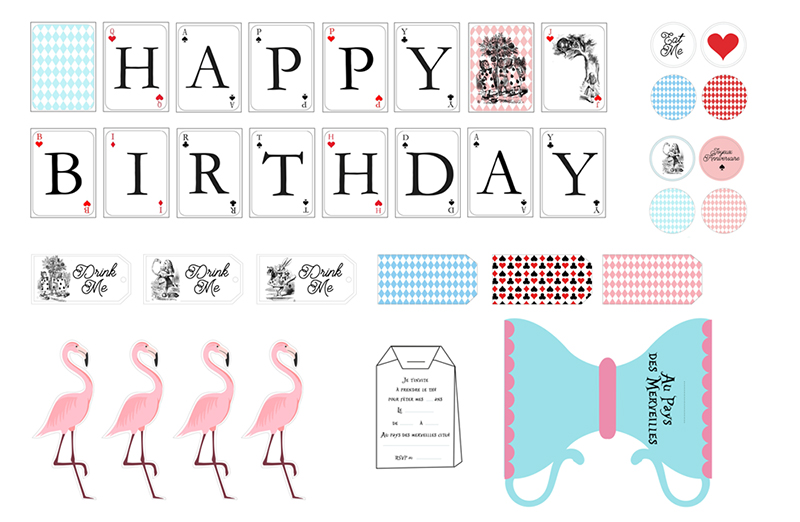 Baby shower table decorations candy table for baby shower decoration - Printable Anniversaire Alice Au Pays Des Merveilles 224
