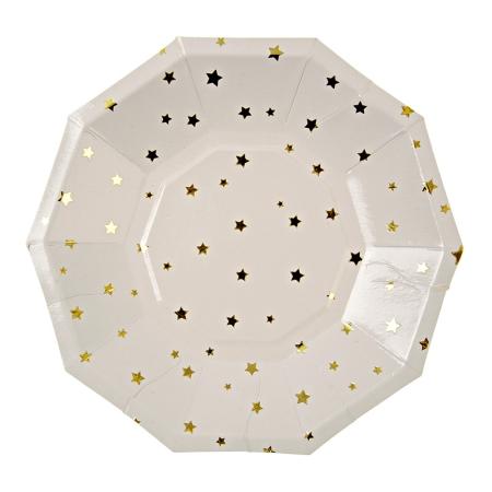 8 assiettes dessert étoiles dorées en carton