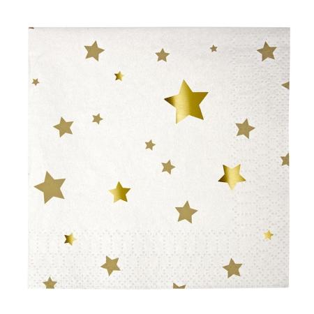 20 serviettes cocktail blanches à étoiles dorées