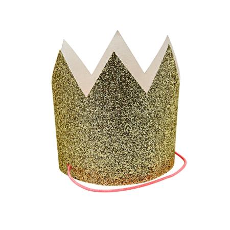 8 mini couronnes de fête dorées à paillettes