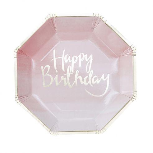 8 assiettes carton anniversaire rose pastel ombré