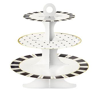 presentoir cupcake 3 tages en carton noir et blanc achat. Black Bedroom Furniture Sets. Home Design Ideas
