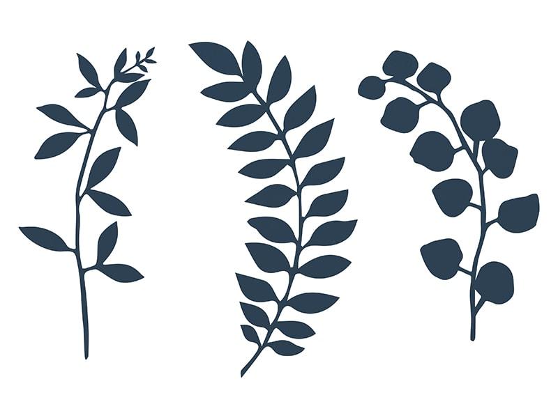 9 feuillages en papier prédécoupé bleu marine