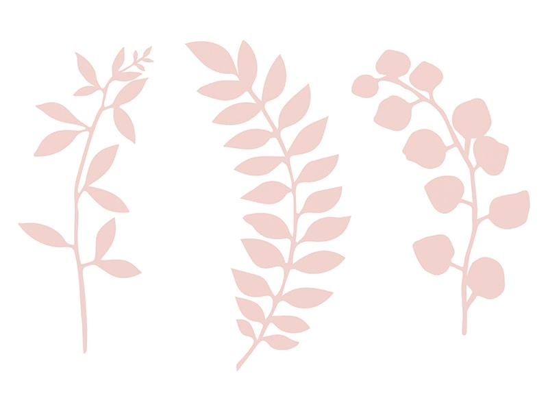 9 feuillages en papier prédécoupé rose poudré