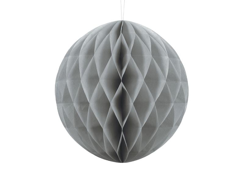 Boule en papier alvéolé gris clair