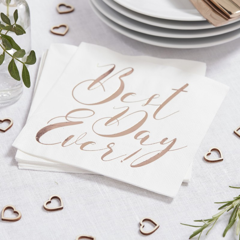 serviette-jetable-mariage-best-day-ever-blanc-et-rose-gold