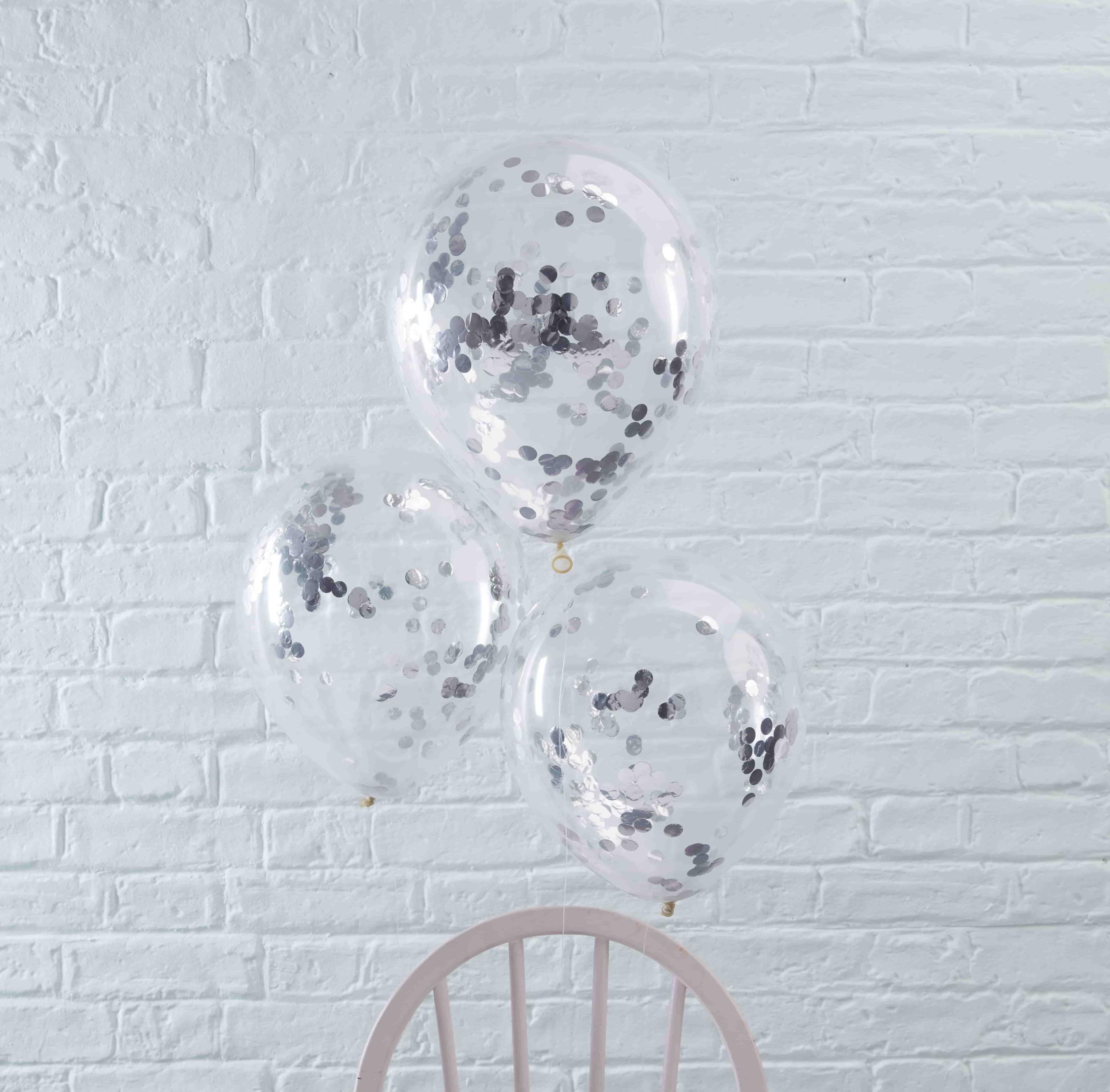 5 ballons confettis argent