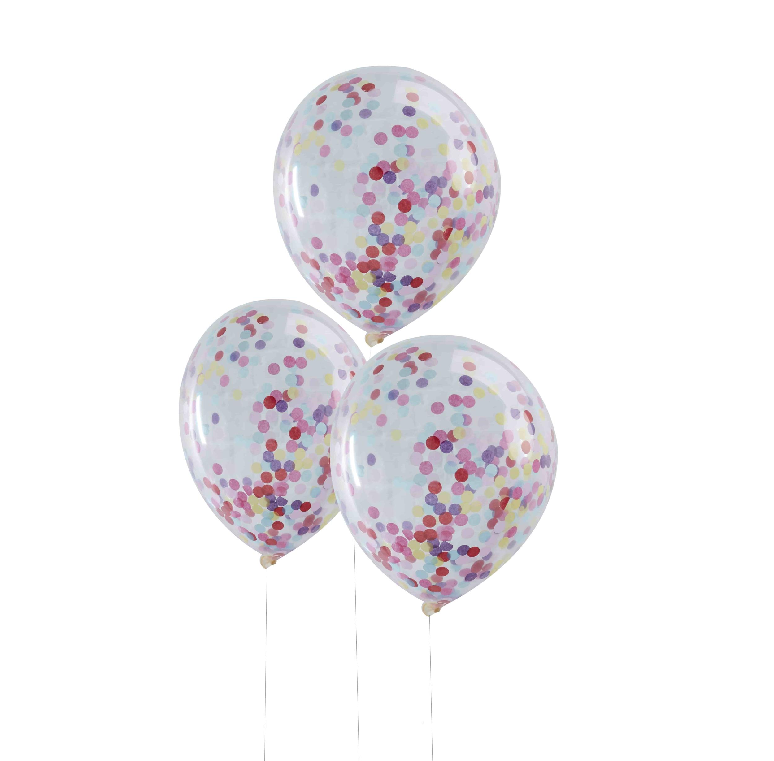 5 ballons confettis multicolores