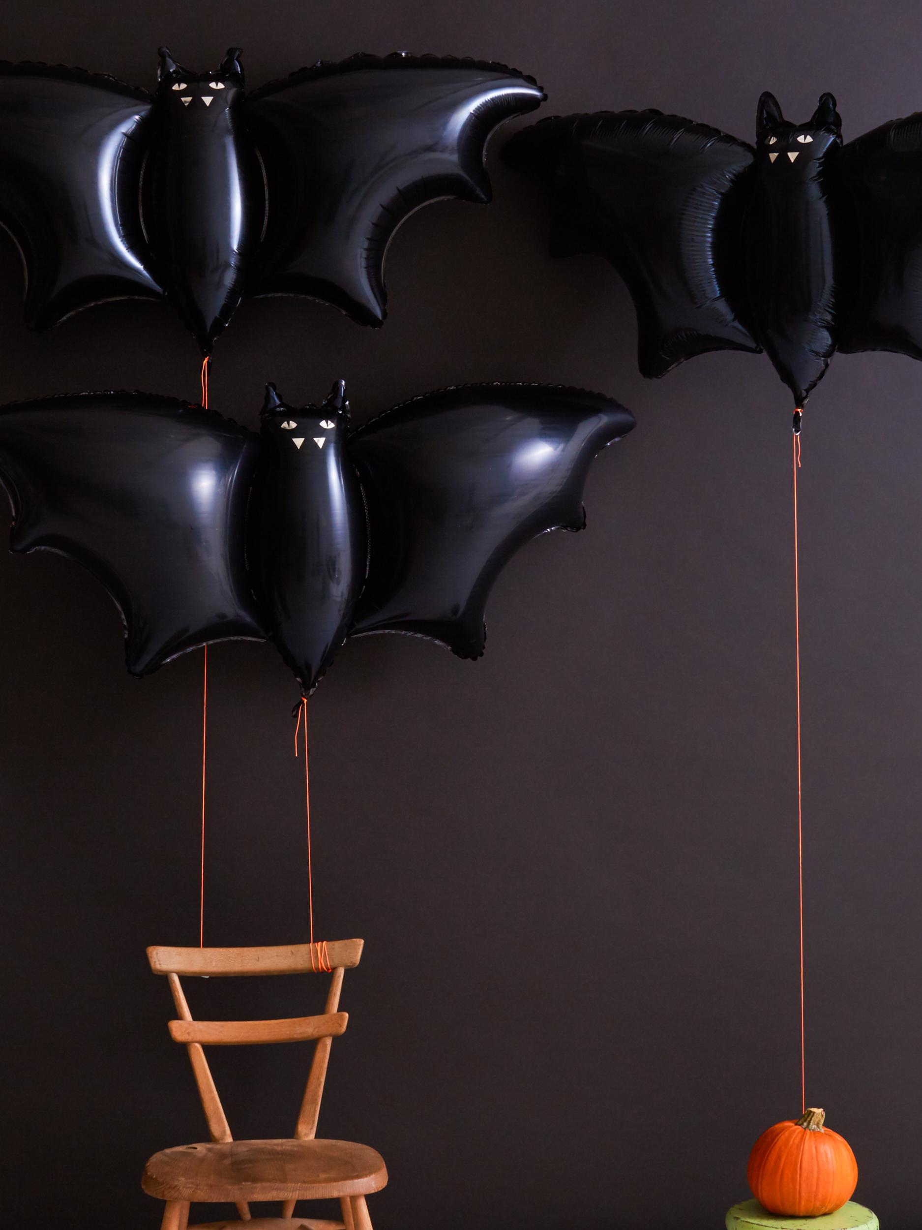 3 ballons mylar chauve-souris en aluminium