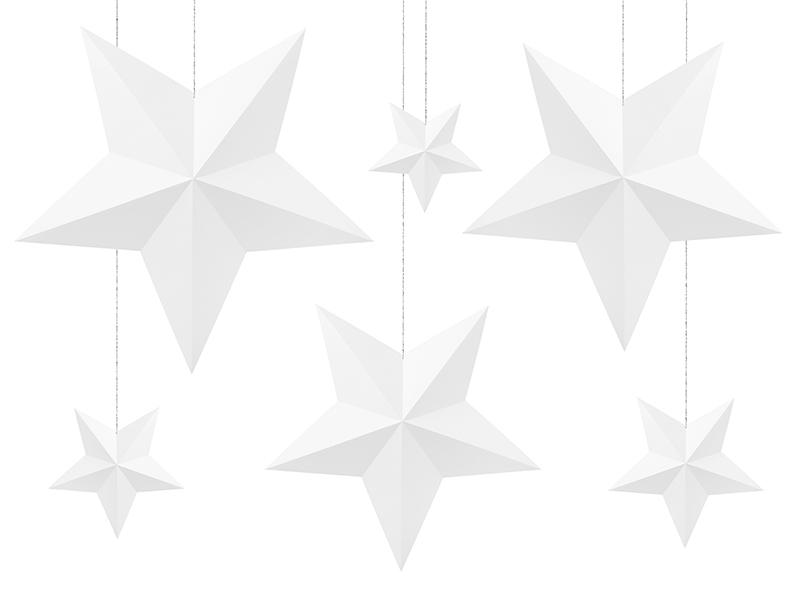 Kit création 6 étoiles 3D en papier blanc