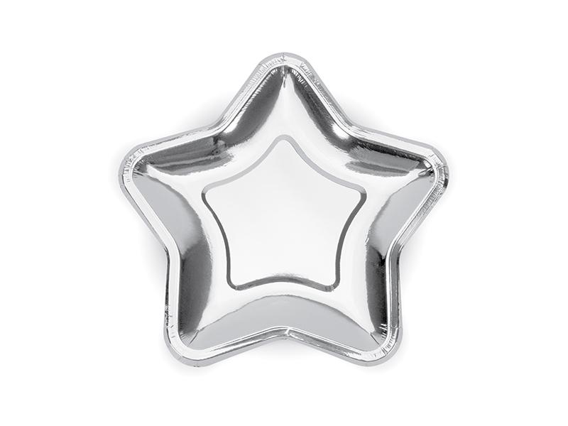 6 assiettes dessert étoile en carton argenté