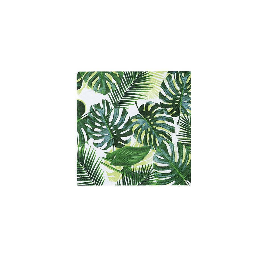 20 serviettes feuilles tropicales