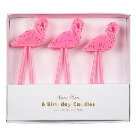 6 bougies anniversaire flamant rose