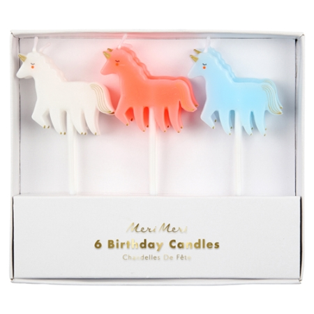 6 bougies anniversaire licorne