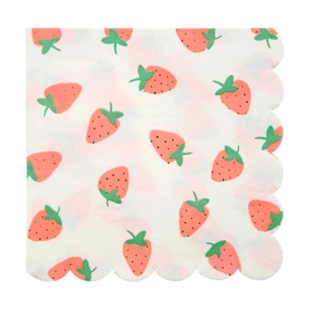 16 serviettes papier fraise