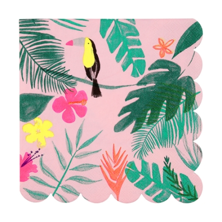 20 serviettes papier imprimé tropical