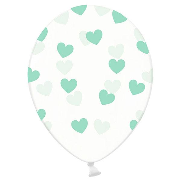 6 ballons transparents coeurs menthe