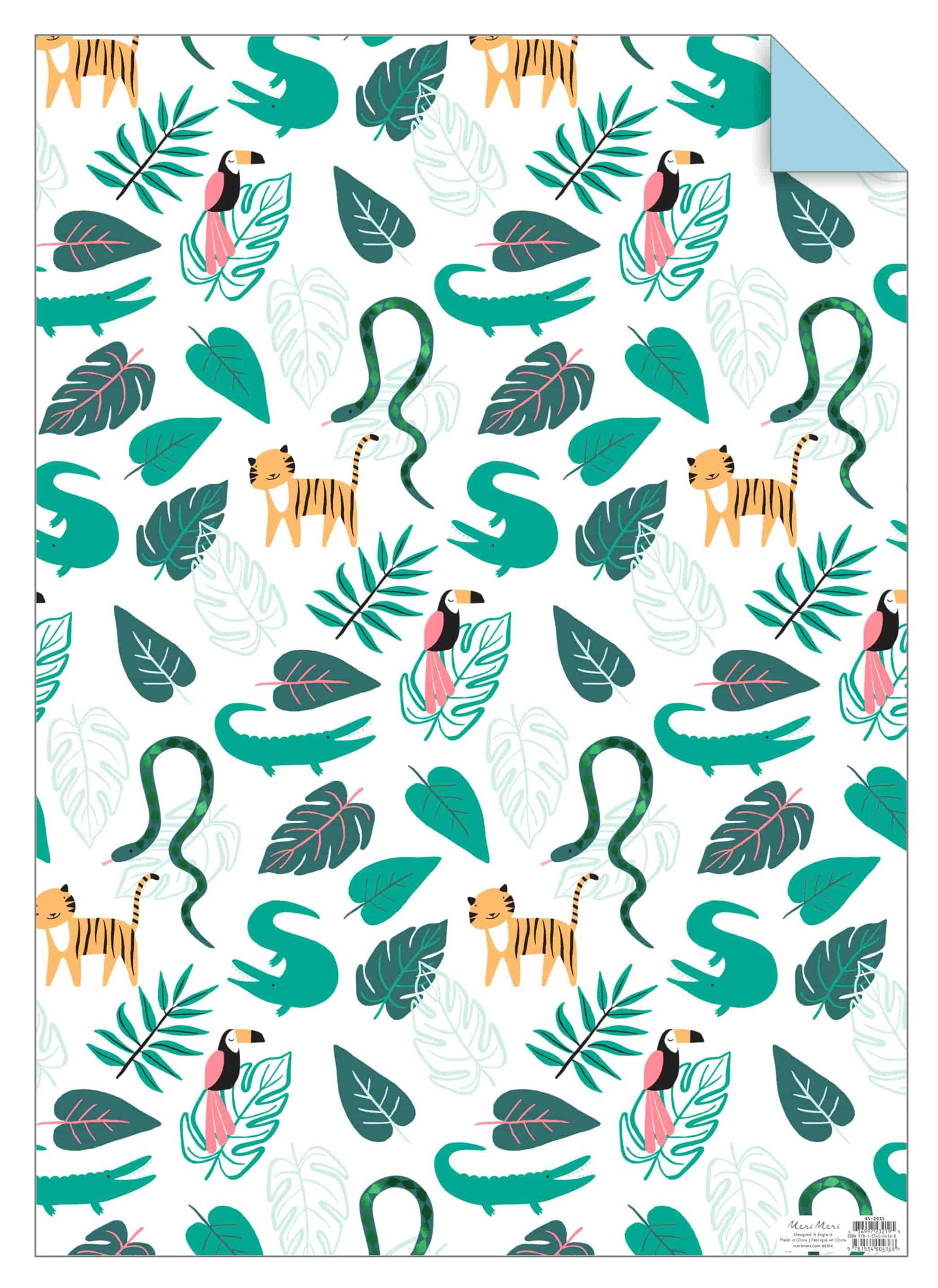 Rouleau de 3 feuilles de papier cadeau jungle