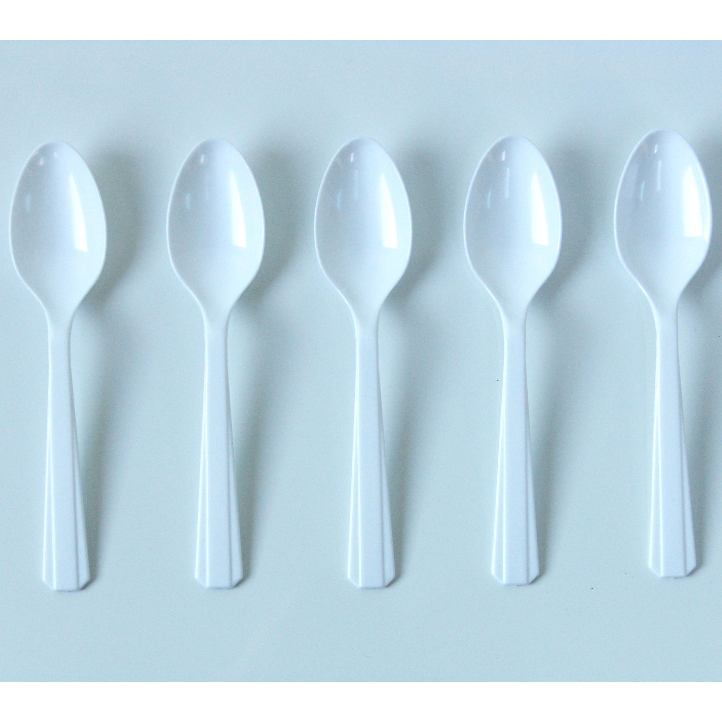 10 petites cuillères en plastique blanc