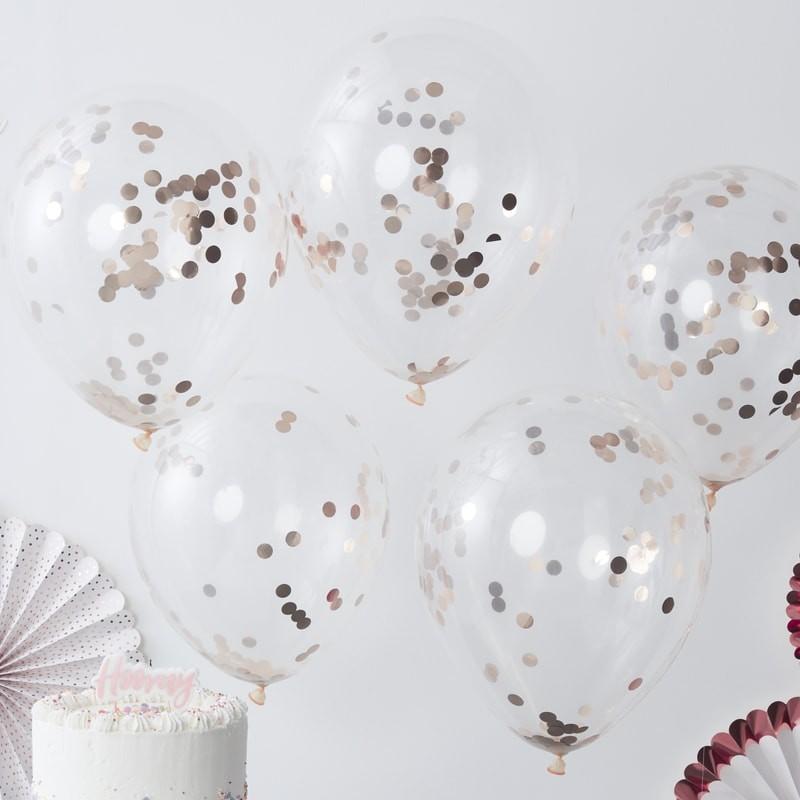 5 ballons confettis rose gold