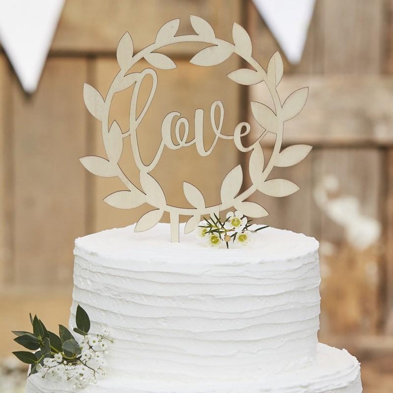 Cake topper en bois Love