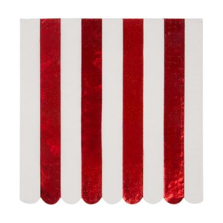 16 serviettes rayées rouge métallisé
