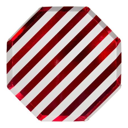 8 assiettes rayées rouge métallisé