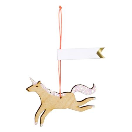 8 étiquettes cadeau licorne en bois