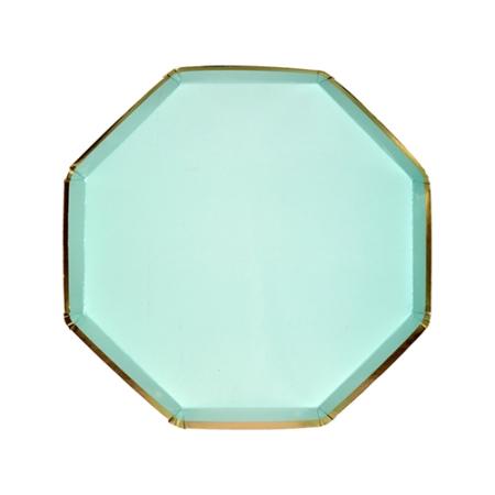 assiette-dessert-octogonale-en-carton-vert-menthe-meri-meri