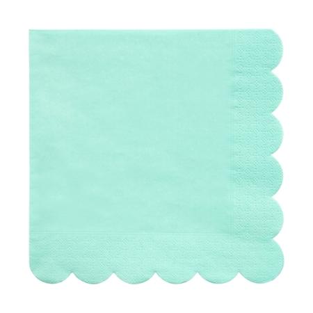 20 serviettes en papier vert menthe