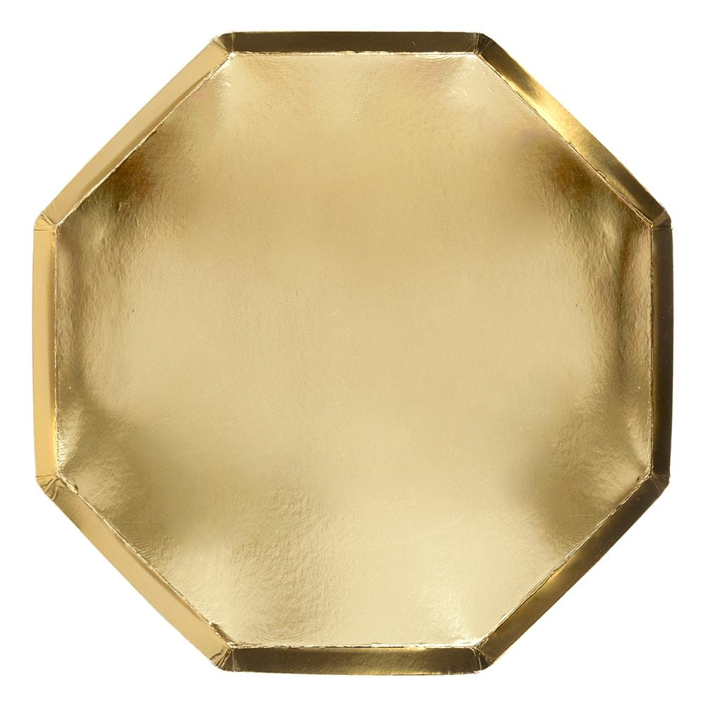 8 assiettes carton doré