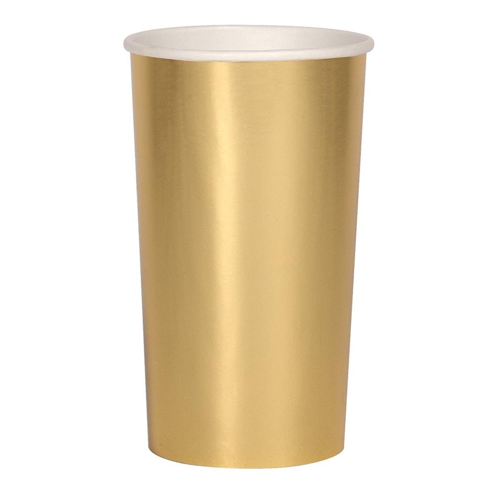 8 grands gobelets en carton doré