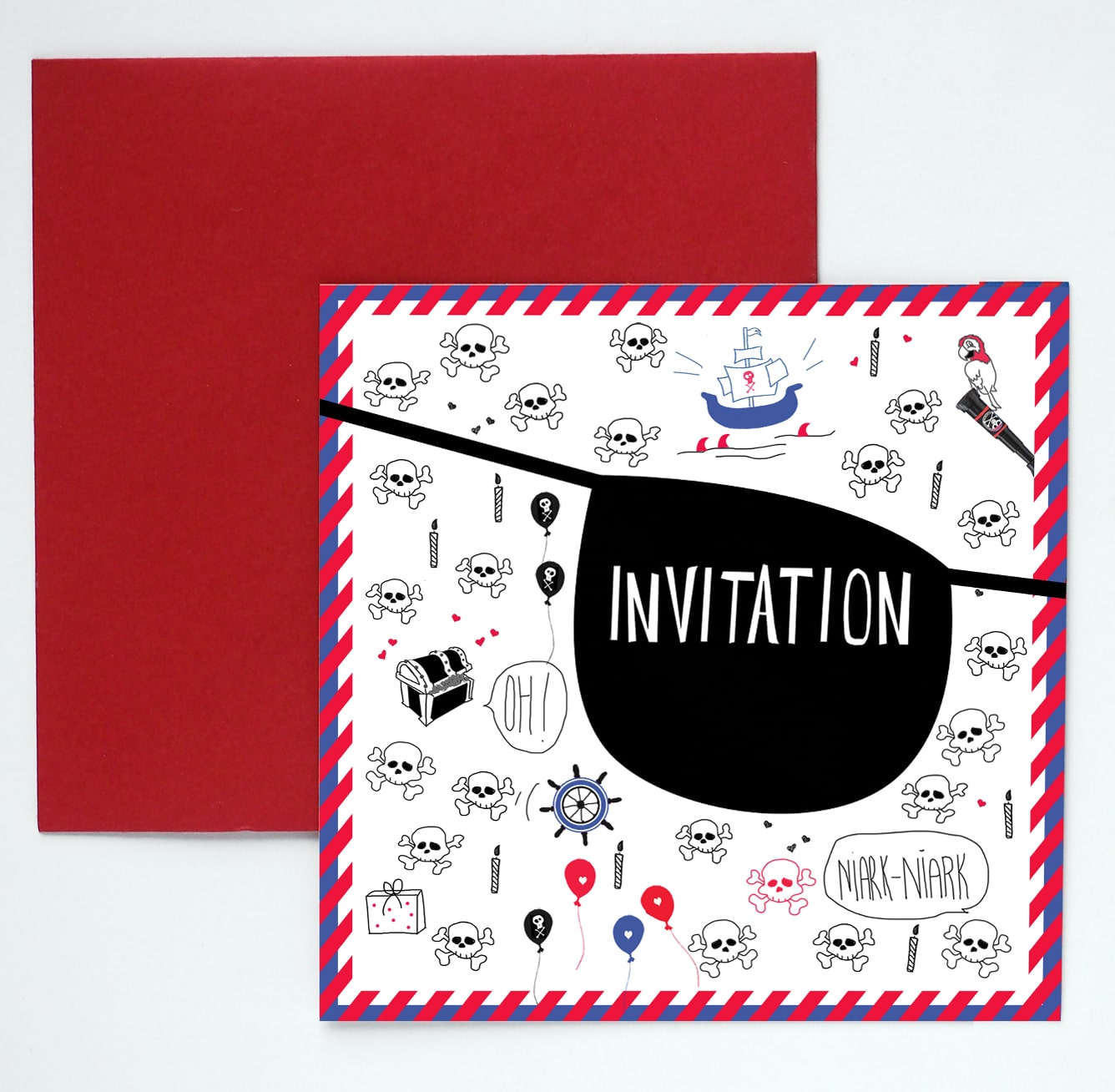 8 cartes d\'invitation anniversaire pirate