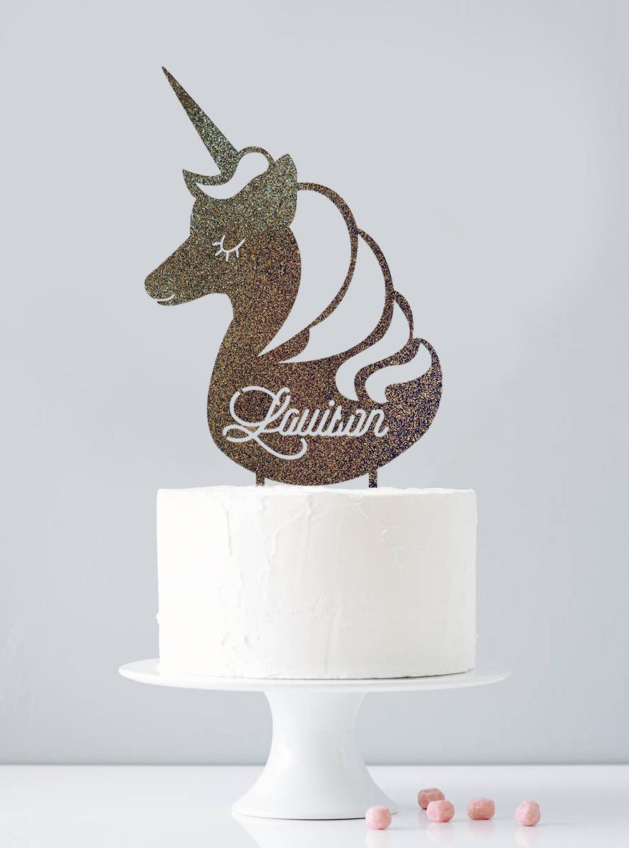 Cake topper personnalisé licorne