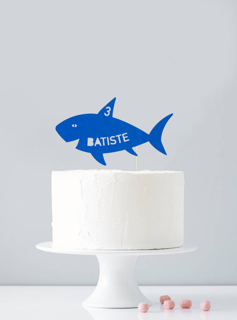 Cake topper personnalisé requin