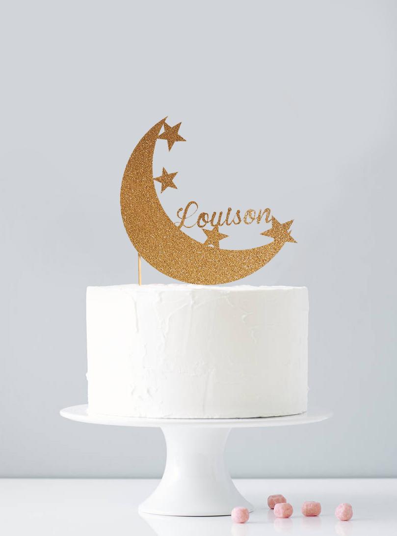 Cake topper personnalisé lune
