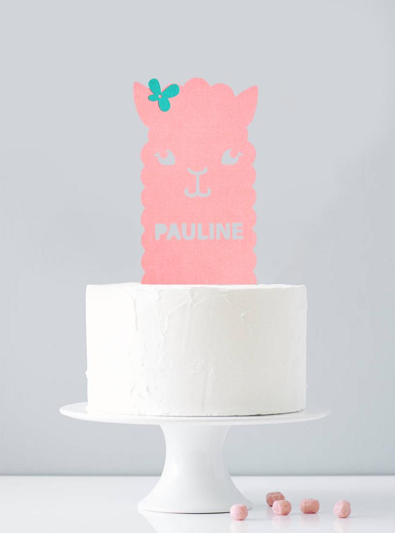 Cake topper personnalisé lama