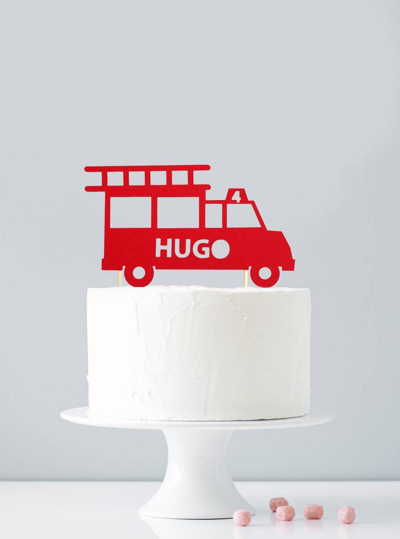 Cake topper personnalisé pompier