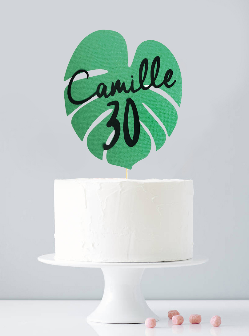 cake-topper-feuille-exotique-deco-gateau-tropical-personnalise-sweet-party-day