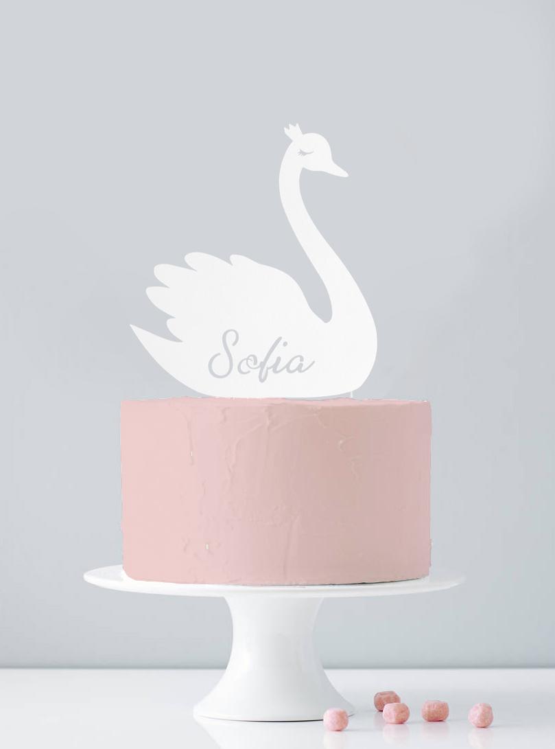 Cake topper personnalisé cygne