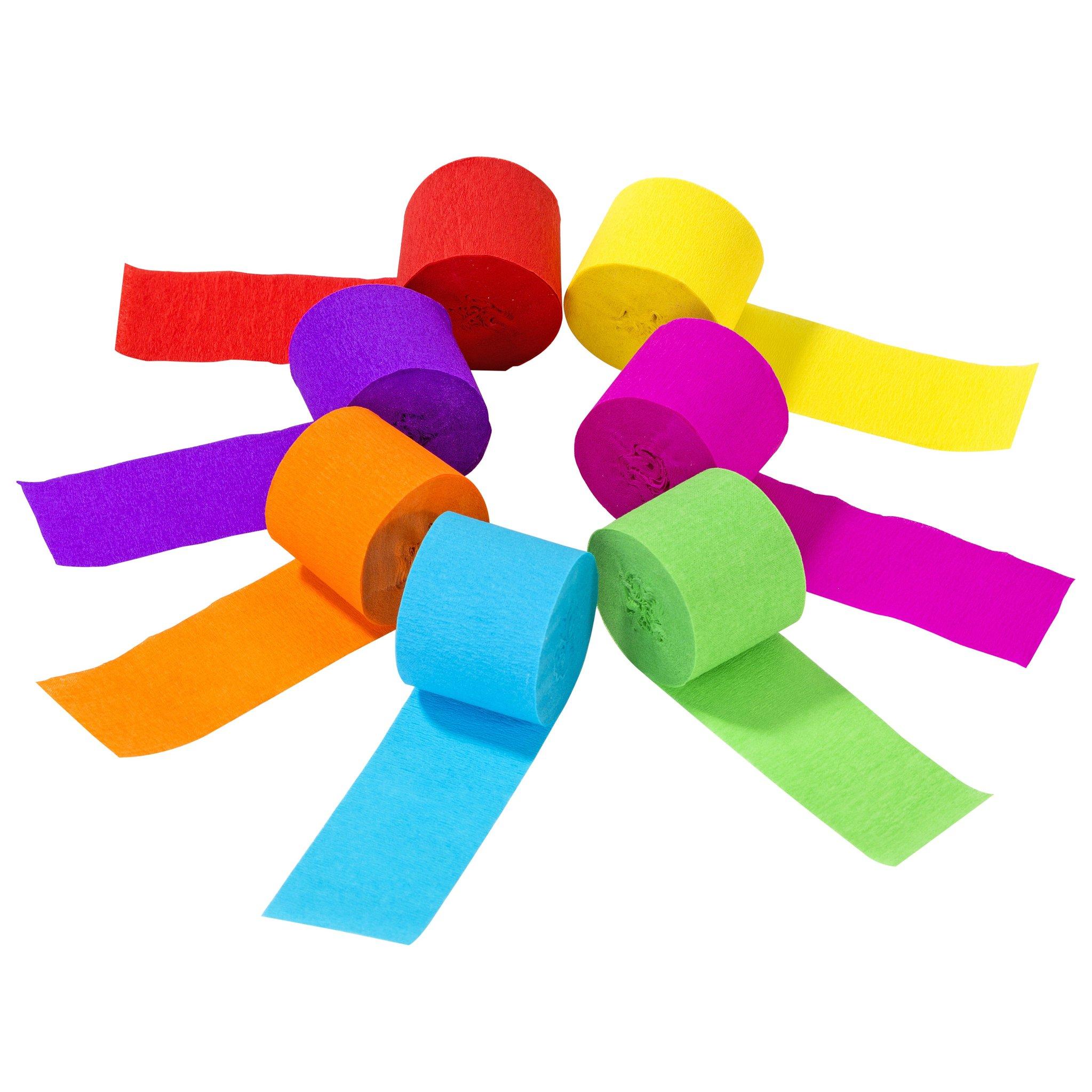 7 rubans de papier crépon arc en ciel