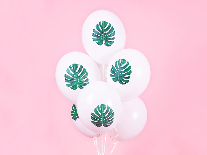 6 ballons feuille tropicale