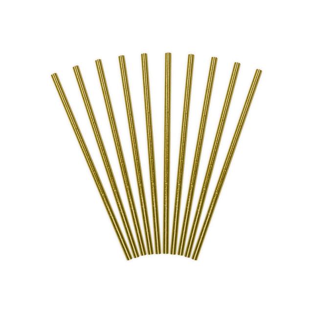 10 pailles en papier dorées