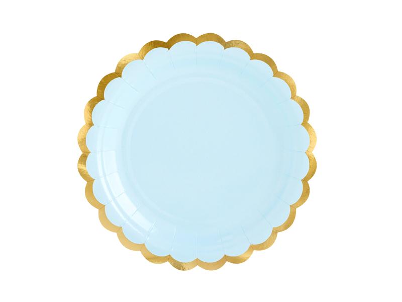 6 assiettes bleu et dorée