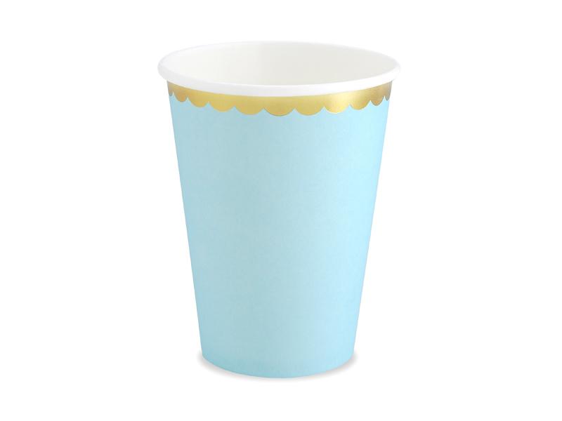 6 gobelets bleu pastel et dorée