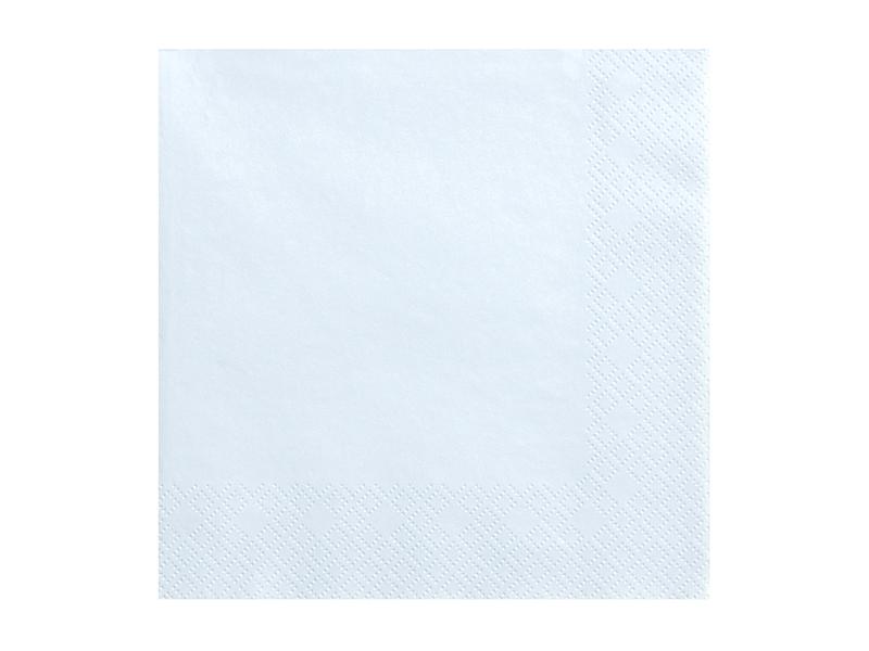 20 serviettes unies bleu clair