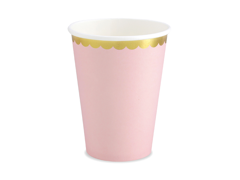 6 gobelets rose pastel et dorée