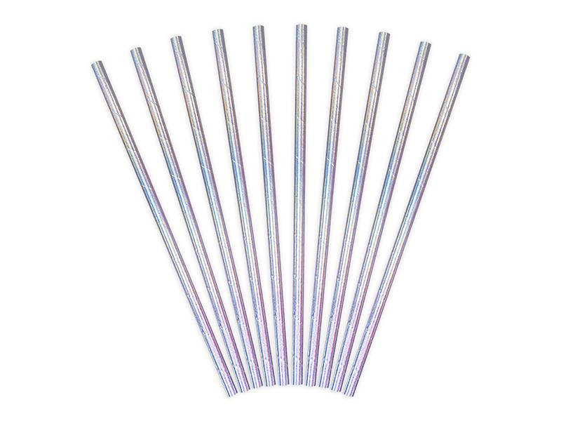 10 pailles papier irisé
