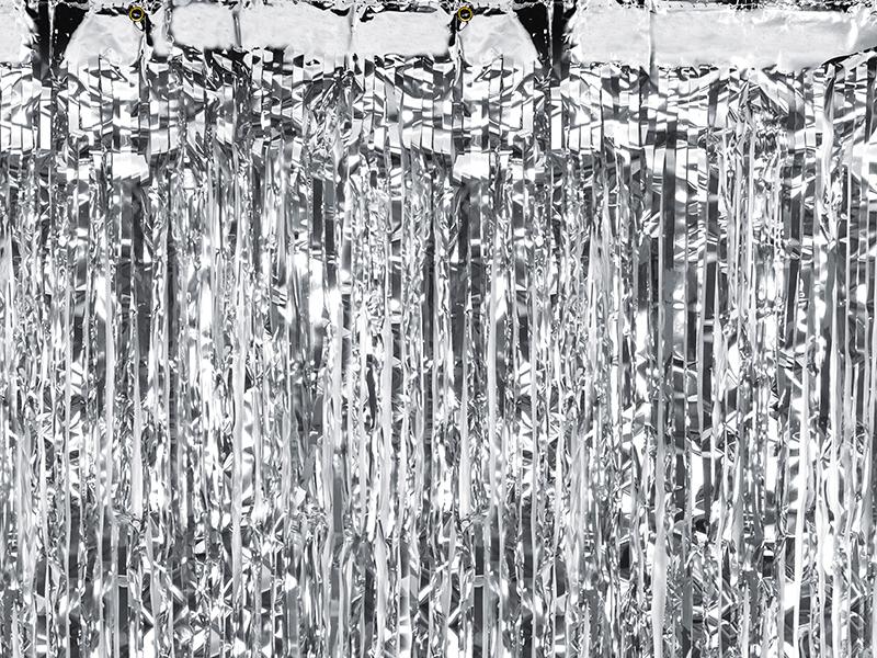 Rideau métallisé à franges argentées