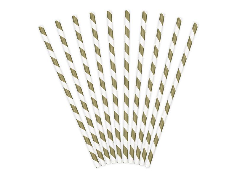 10 pailles à rayures en papier doré métallisé